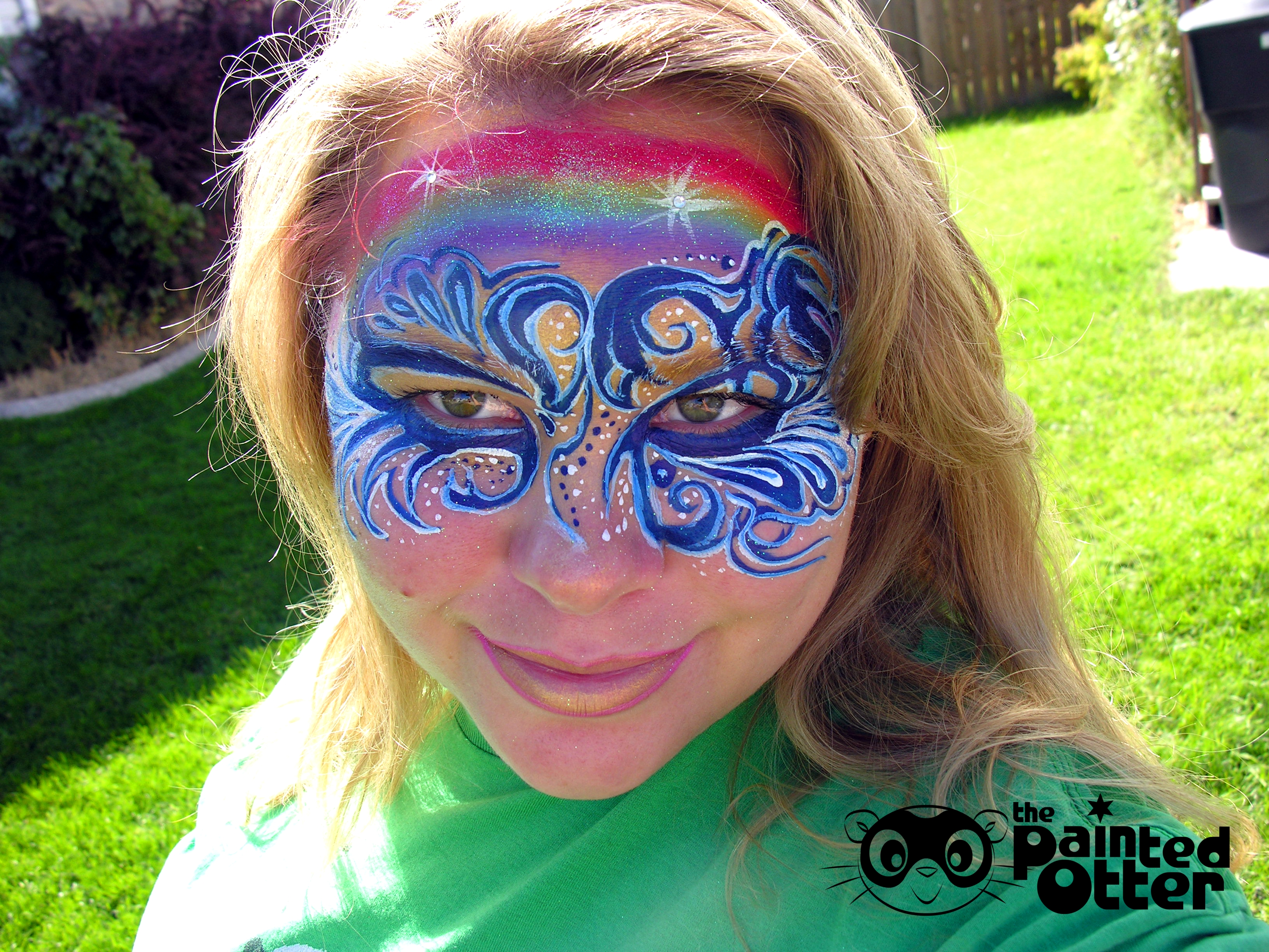 rainbow face paint the painted otter