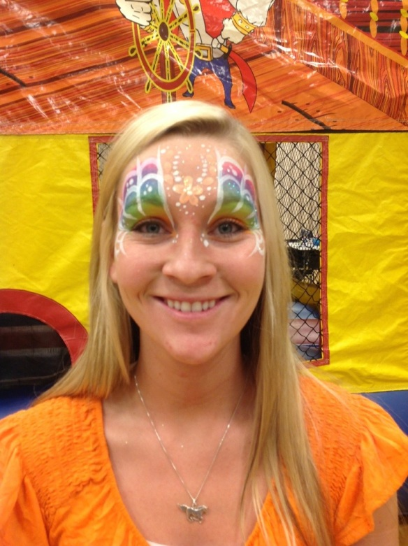 fairy face paint, rainbow eyes face paint