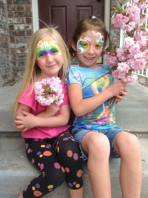 fairy face paint, rainbow eyes face paint, rainbow face paint